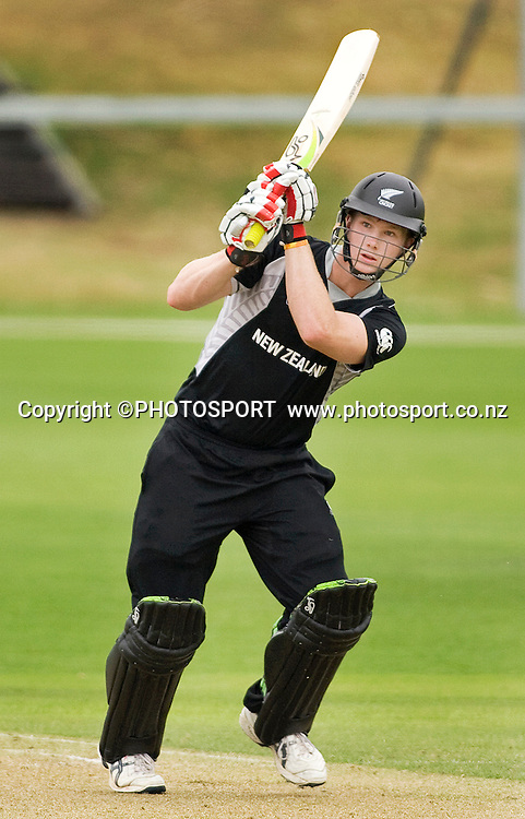 New Zealand batsman Jimmy Neesham during his innings of 47. New Zealand v Sri Lanka, U19 Cricket World Cup group stage match, Village Green, QEII, Christchurch, Wednesday 20 January 2010. Photo : Joseph Johnson/PHOTOSPORT