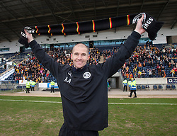 Partick Thistle's manager Alan Archibald..Partick Thistle cele winning the Scottish Football League Division One..Falkirk 0 v 2 Partick Thistle, 20/4/2013..© Michael Schofield.