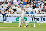 Wicket - Dinesh Karthik of India is bowled by Ben Stokes of England during second day of the Specsavers International Test Match 2018 match between England and India at Edgbaston, Birmingham, United Kingdom on 2 August 2018. Picture by Graham Hunt.