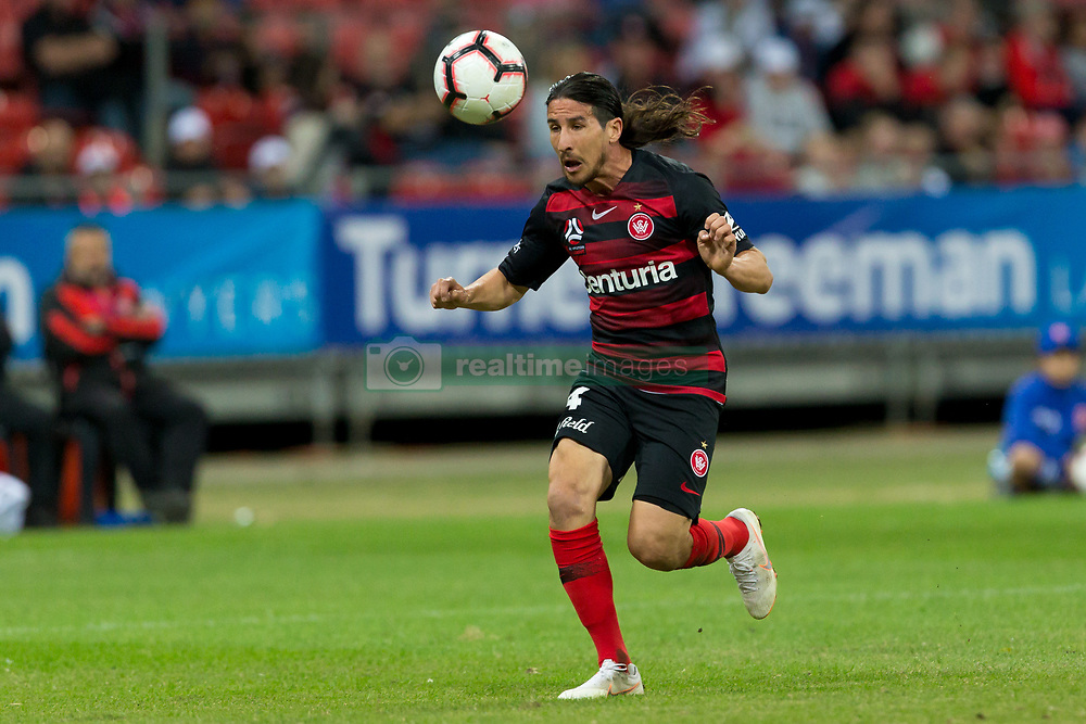 November 23, 2018 - Sydney, NSW, U.S. - SYDNEY - NOVEMBER 23: Western Sydney Wanderers defender Raul Llorente (24) heads back to his keeper at the Hyundai A-League Round 5 soccer match between Western Sydney Wanderers FC and Newcastle Jets on November 23, 2018, at Spotless Stadium in Sydney, NSW. (Photo by Speed Media/Icon Sportswire) (Credit Image: © Speed Media/Icon SMI via ZUMA Press)