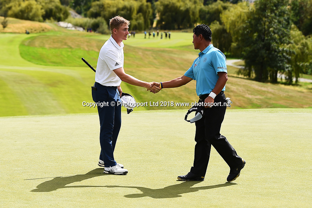 Nick Voke of New Zealand and KJ Choi of Korea at the end of  Round 2 of the 2018 ISPS Handa New Zealand Golf Open. The Hills, Arrowtown. New Zealand. Friday 2 March 2018. ©Copyright Photo: Chris Symes / www.photosport.nz