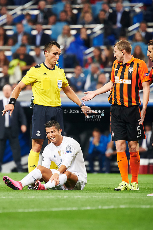 Cristiano Ronaldo (forward, Real Madrid F.C.) in action during the UEFA Champions League match between Real Madrid and FC Shakhtar Donetsk at Santiago Bernabeu on September 15, 2015 in Madrid