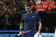 Roger Federer during the final of the ATP World Tour Finals between Roger Federer of Switzerland and Novak Djokovic at the O2 Arena, London, United Kingdom on 22 November 2015. Photo by Phil Duncan.