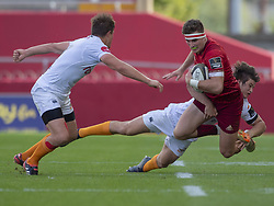 September 1, 2018 - Limerick, Ireland - Shane Daly of Munster tackled by Benhard Janse van Rensburg of Cheetahs during the Guinness PRO14 rugby match between Munster Rugby and Toyota Cheetahs at Thomond Park Stadium in Limerick, Ireland on September 1, 2018  (Credit Image: © Andrew Surma/NurPhoto/ZUMA Press)