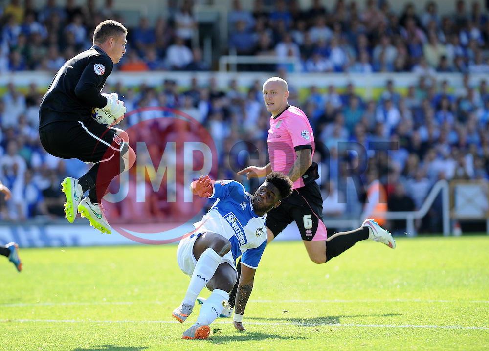 Adam Smith of Northampton Town saves from Ellis Harrison of Bristol Rovers - Mandatory byline: Neil Brookman/JMP - 07966386802 - 08/08/2015 - FOOTBALL - Memorial Stadium -Bristol,England - Bristol Rovers v Northampton Town - Sky Bet League Two