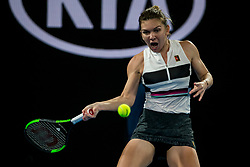 January 17, 2019 - Melbourne, VIC, U.S. - MELBOURNE, AUSTRALIA - JANUARY 17 : Simona Halep of ÊRomania returns the ball during day 4 of the Australian Open on January 17 2019, at Melbourne Park in Melbourne, Australia.(Photo by Jason Heidrich/Icon Sportswire) (Credit Image: © Jason Heidrich/Icon SMI via ZUMA Press)
