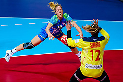 02-12-2019 JAP: Slovenia - Norway, Kumamoto<br /> Second day 24th IHF Womenís Handball World Championship, Slovenia lost the second match against Norway with 20 - 36. / Polona Baric #13 of Slovenia, Silje Margaretha Solberg #12 of Norway