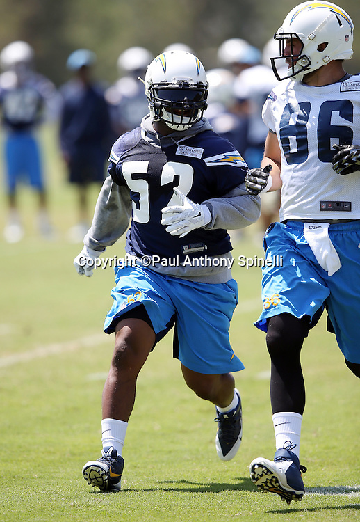 San Diego Chargers rookie linebacker Denzel Perryman (52) chases the action during the San Diego Chargers Spring 2015 NFL minicamp practice on Wednesday, June 17, 2015 in San Diego. (©Paul Anthony Spinelli)