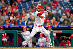 May 22, 2018 - Philadelphia, PA, U.S. - PHILADELPHIA, PA - MAY 22: Philadelphia Phillies right fielder Nick Williams (5) ready at the plate during the MLB game between the Atlanta Braves and the Philadelphia Phillies on May 22, 2018 at Citizens Bank Park in Philadelphia PA. (Photo by Gavin Baker/Icon Sportswire) (Credit Image: © Gavin Baker/Icon SMI via ZUMA Press)