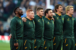 South Africa players sing their national anthem - Mandatory byline: Patrick Khachfe/JMP - 07966 386802 - 03/11/2018 - RUGBY UNION - Twickenham Stadium - London, England - England v South Africa - Quilter International