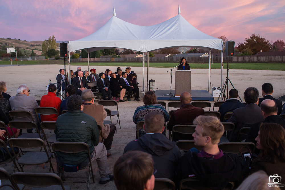 The Milpitas Unified School District and San Jose Evergreen Community College District Community College Extension Ground Breaking Ceremony near Russell Middle School in Milpitas, California, on November 17, 2015. (Stan Olszewski/SOSKIphoto)
