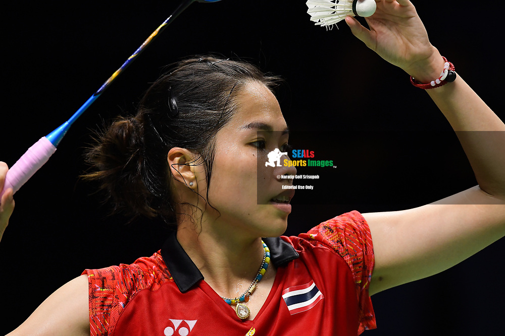 BANGKOK, THAILAND - MAY 24: Ratchanok Intanon of Thailand in action on Court 1 during her Quarter Finals match against Fitriani Fitriani of Indonesia at the BWF Total Thomas and Uber Cup Finals 2018, Impact Arena , Bangkok, Thailand on May 24, 2018.<br /> .<br /> .<br /> .<br /> (Photo by: Naratip Golf Srisupab/SEALs Sports Images)<br /> .<br /> Any image use must include a mandatory credit line adjacent to the content which should read: Naratip Golf Srisupab/SEALs Sports Images