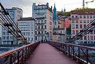Lyon, France -- Nov 5, 2017 -- St. Vincent's Bridge over the Saone River. Editorial and Illustrative