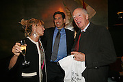 Countess Maya von Schonburg, James Rubin and Lord Rothschild, A A Gill party to celebrate the  publication of Table Talk, a collection of his reviews. Hosted by Marco Pierre White at <br />