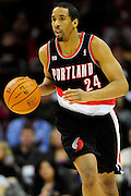 Feb. 5, 2011; Cleveland, OH, USA; Portland Trail Blazers point guard Andre Miller (24) drives down court during the first quarter against the Cleveland Cavaliers at Quicken Loans Arena. Mandatory Credit: Jason Miller-US PRESSWIRE