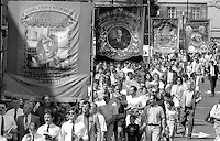 Sharlston and Houghton Main Branch banners. 1992 Yorkshire Miners Gala, Barnsley.