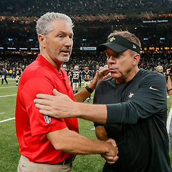Sep 9, 2018; New Orleans, LA, USA; New Orleans Saints head coach Sean Payton and Tampa Bay Buccaneers head coach Dirk Koetter following a a game at the Mercedes-Benz Superdome. The Buccaneers defeated the Saints 48-40. Mandatory Credit: Derick E. Hingle-USA TODAY Sports