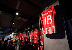 A shirt of new Atletico Madrid signing Diego Costa on sale in the club shop at the Wanda Metropolitano