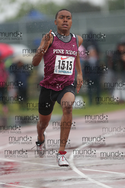 William Russell of Pine Ridge SS - Pickering competes in the 400m heats at the 2013 OFSAA Track and Field Championship in Oshawa Ontario, Thursday,  June 6, 2013.<br /> Mundo Sport Images / Sean Burges