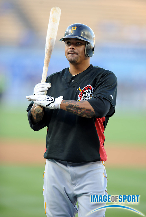 Apr 14, 2008; Los Angeles, CA, USA; Pittsburgh Pirates shortstop Luis Rivas (31) during batting practice before game against the Los Angeles Dodgers at Dodger Stadium.