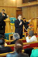 10/17/10 12:26:17 PM -- Darby, PA<br />  -- Democratic Congressional candidate Bryan Lentz speaks with the congregation of First Baptist Church October 17, 2010  in Darby, Pennsylvania. Bryan Lentz  faces Republican Pat Meehan  in the Nov. 2 general election.   --  Photo by William Thomas Cain/Cain Images
