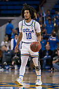 UCLA Bruins guard Tyger Campbell (10) brings the ball up court against the San Jose State Spartans during an NCAA college basketball game, Sunday, Dec. 1, 2019, in Los Angeles. UCLA defeated San Jose State 93-64. (Jon Endow/Image of Sport)