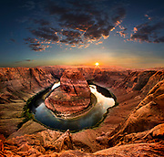 Sunset at Horseshoe Bend in Page, Arizona on Tuesday, June 26, 2018. (Photo by L.E. Baskow/LeftEye Images/Sipa USA)