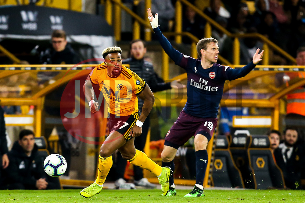 Adama Traore of Wolverhampton Wanderers takes on Nacho Monreal of Arsenal - Mandatory by-line: Robbie Stephenson/JMP - 24/04/2019 - FOOTBALL - Molineux - Wolverhampton, England - Wolverhampton Wanderers v Arsenal - Premier League