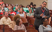 Attendees comment during a stop of the Listen & Learn tour at Black Middle School, September 20, 2016.