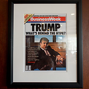 DORAL, FLORIDA, JANUARY 10, 2018<br /> Framed portrait of President Donald Trump on the cover of a BusinessWeek Magazine hanging from a column in the Champions Sports Bar &amp; Grill at the Trump National Doral Miami.<br /> (Photo by Angel Valentin/Freelance)
