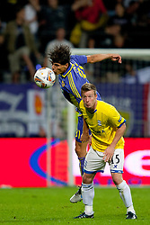 Zoran Lesjak of NK Maribor and Wade Elliott of Birmingham City at 2nd Round of Europe League football match between NK Maribor (Slovenia) and Birmingham City (England), on September 29, 2011, in Maribor, Slovenia.  (Photo by Urban Urbanc / Sportida)