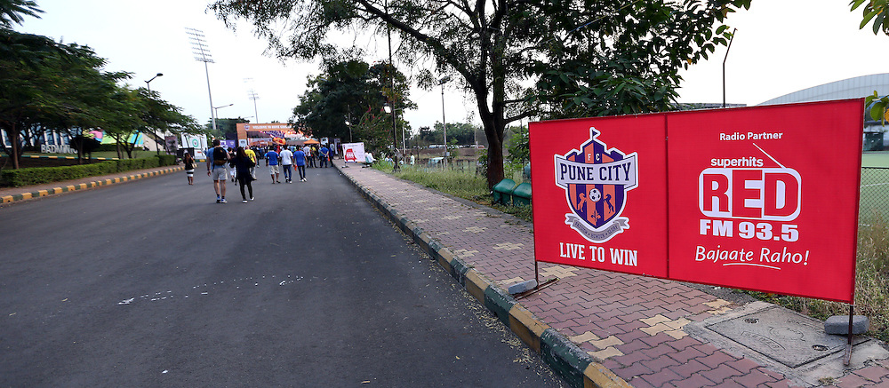 Branding during match 33 of the Indian Super League (ISL) season 2  between FC Pune City and FC Goa held at the Shree Shiv Chhatrapati Sports Complex Stadium, Pune, India on the 8th November 2015.<br /> <br /> Photo by Sandeep Shetty / ISL/ SPORTZPICS