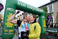 "Gerard Corcoran winner of the ""Westport  Sea 2 Summit ""  adventure race on the top of Croagh Patrick, where 1100 athletes ran, cycled and hiked 56km(summit) in Co Mayo and his wife Aileen McNamara who was second in the the Spirit race (27km) . Photo:Andrew Downes"