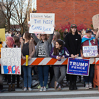 Trump rally protesters at the University of Wisconsin, Eau Claire campus, candidate Donald Trump spoke at the campus on November 1st, 2016