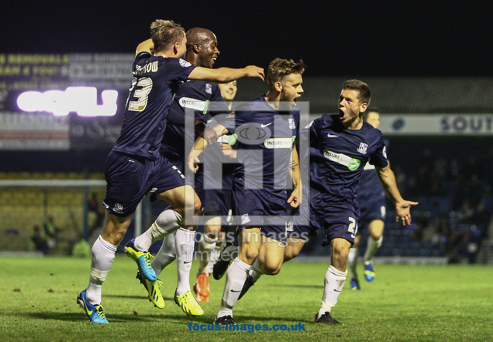 Picture by Daniel Chesterton/Focus Images Ltd +44 7966 018899<br /> 27/09/2013<br /> Kevan Hurst of Southend United (2nd right) celebrates after scoring his side's first goal during the Sky Bet League 2 match at Roots Hall, Southend.