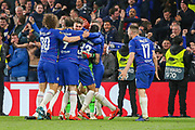 Chelsea celebrate after their 4-3 win on penalties during the Europa League semi final second leg match between Chelsea and Eintracht Frankfurt at Stamford Bridge, London, England on 9 May 2019.