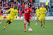 Burton Albion striker Marvin Sordell (9) battles for possession with Bristol City defender Joe Bryan (3) during the EFL Sky Bet Championship match between Bristol City and Burton Albion at Ashton Gate, Bristol, England on 4 March 2017. Photo by Richard Holmes.