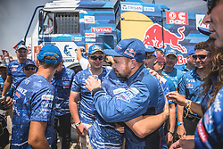 Eduard Nikolaev, Evgeny Yakolev and Vladimir Rybakov (RUS), of KAMAZ – Master at the finish line after the last stage of Rally Dakar 2019 from Pisco to Lima, Peru on January 17, 2019. // Flavien Duhamel/Red Bull Content Pool // AP-1Y5HCEC212111 // Usage for editorial use only // Please go to www.redbullcontentpool.com for further information. //