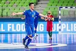 Everton Cardoso of Azerbaijan celebrate during futsal match between Portugal and Azerbaijan in Quaterfinals of UEFA Futsal EURO 2018, on February 6, 2018 in Arena Stozice, Ljubljana, Slovenia. Photo by Ziga Zupan / Sportida