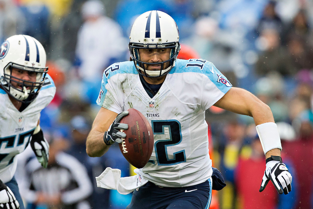 NASHVILLE, TN - DECEMBER 28:  Charlie Whitehurst #12 of the Tennessee Titans scrambles out of the pocket during the third quarter of a game against the Indianapolis Colts at LP Field on December 28, 2014 in Nashville, Tennessee.  The Colts defeated the Titans 27-10.  (Photo by Wesley Hitt/Getty Images) *** Local Caption *** Charlie Whitehurst