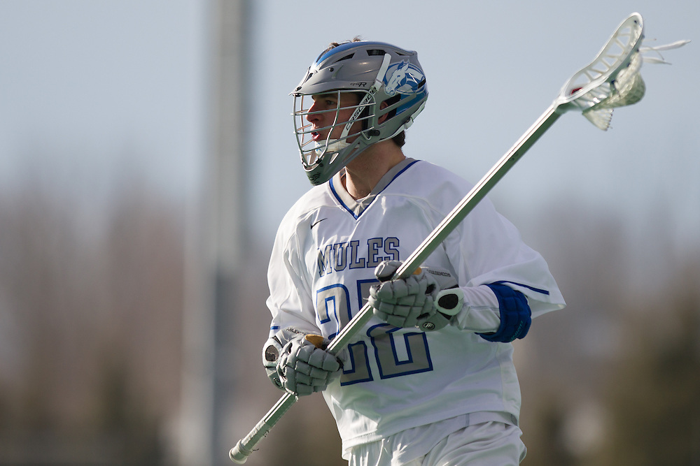 Colby College defenseman, Jeb Waters, during a NCAA Division III men's lacrosse game against at Gordon College on March 11, 2014 in Waterville, ME. (Dustin Satloff/Colby Athletics)