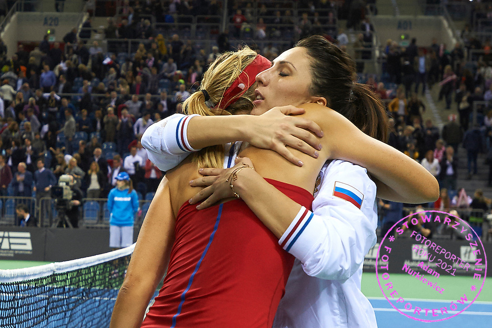 (L) Maria Sharapova and trainer coach Anastasia Myskina both from Russia celebrate winning second match during First Day of the Fed Cup / World Group 1st round tennis match between Poland and Russia at Tauron Krakow Arena on February 7, 2015 in Cracow, Poland.<br /> <br /> Poland, Cracow, February 7, 2015<br /> <br /> Picture also available in RAW (NEF) or TIFF format on special request.<br /> <br /> For editorial use only. Any commercial or promotional use requires permission.<br /> <br /> Adam Nurkiewicz declares that he has no rights to the image of people at the photographs of his authorship.<br /> <br /> Mandatory credit:<br /> Photo by &copy; Adam Nurkiewicz / Mediasport