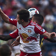 Philadelphia Union Defender RICHIE MARQUEZ (16), center, heads the ball in the first half of a Major League Soccer match between the Philadelphia Union and New York Red Bulls Sunday, July. 17, 2016 at Talen Energy Stadium in Chester, PA.