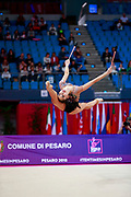 Minagawa Kaho during Qualification of clubs at World Cup Pesaro 2018.<br /> She was born 20 August 1997 in Chiba Prefecture, Japan, is a Japanese individual rhythmic gymnast.