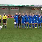 21120413 - IEPER, BELGIUM : Team Iceland and referees are pictured during the Second qualifying round of U17 Women Championship between England and Iceland on Friday April 13th, 2012 in Ieper, Belgium.