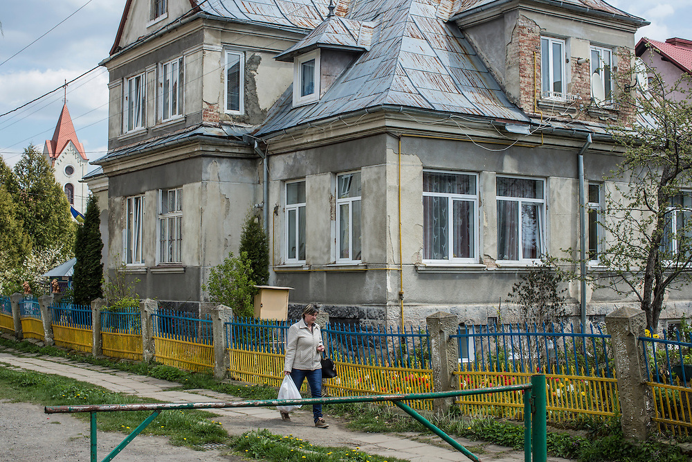 SKOLE, UKRAINE - MAY 1, 2015: A house that during World War II served as the local headquarters of the NKVD, a Soviet secret police agency, and which is believed to contain a well in the basement in which the bodies of Ukrainian partisans were dumped, in Skole, Ukraine. The organization Dolya was formed to excavate and repatriate remains from World War II, though its focus is often on locating the graves of Ukrainian partisans killed by Soviet forces. CREDIT: Brendan Hoffman for The New York Times