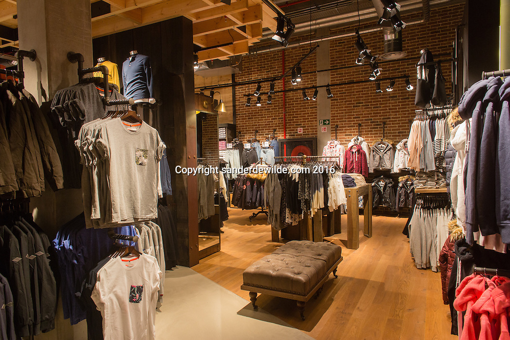Mons Belgium 17 August 2016. Delivery of Superdry Mons at the reopening o the Les Grands Pres Mall, biggest mall in Benelux.