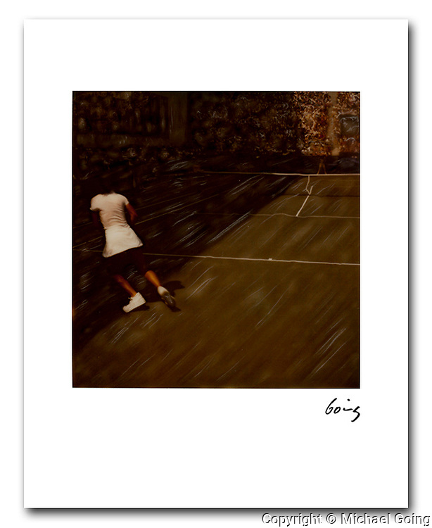 8x10 signed archival pigment print, Pam Shriver in shadows, US Tennis Open 1985. From an hand altered Polaroid SX 70 photograph.