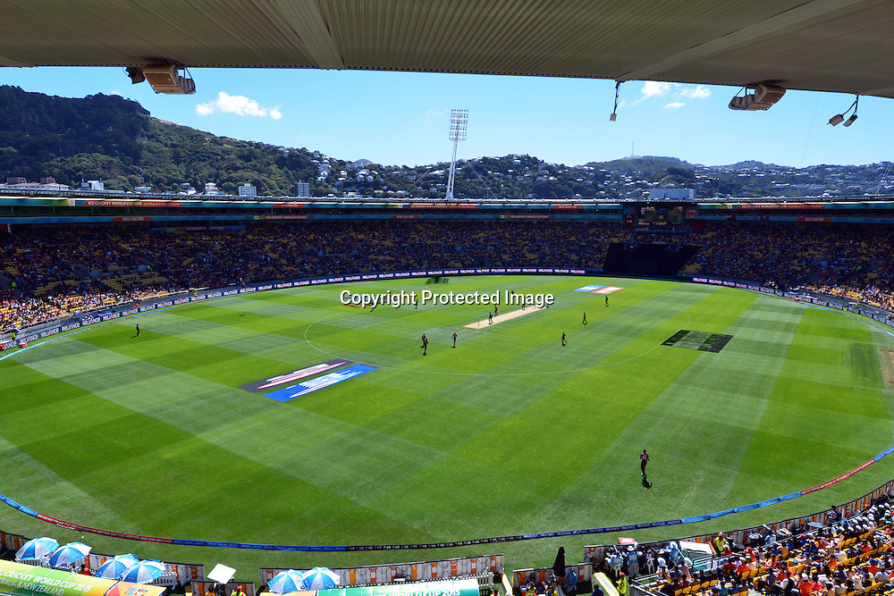 General View during the ICC Cricket World Cup Quaterfinal match between New Zealand and West Indies at Westpac Stadium in Wellington, New Zealand. Saturday 21  March 2015. Copyright Photo: Raghavan Venugopal / www.photosport.co.nz