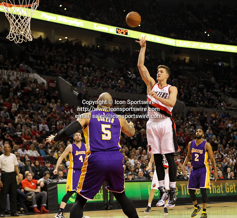 Feb. 11, 2015 - MEYERS LEONARD (11) shoots and makes a jumper. The Portland Trail Blazers play the Los Angeles Lakers at the Moda Center on February 11, 2015